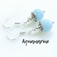 Genuine AQUAMARINE .925 Sterling Silver Earrings AAA Grade Gemstone Dangle
