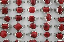 10pcs Wholesale Lots Red Charms Natural Stone Jewelry Lady's Fashion Rings