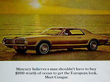 1967 MERCURY COUGAR PRINT AD-poster/sign/photo/art-1968/1969/1970/ford/xr7/XR-7