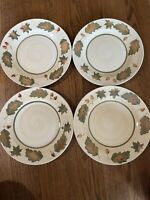 "4 Royal Norfolk Fall Oak Leaves Acorn Autumn 10.5"" Dinner Plates Dishes"