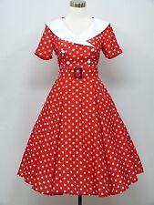 dress190 RED & WHITE POLKA DOT 50s ROCKABILLY PARTY VINTAGE COCKTAIL DRESS 8-24