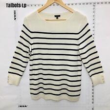 Talbots Striped  White Cotton Rayon Sweater  Womens Size LP