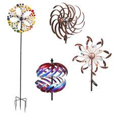 3D Metal Multicolored Windmill Wind Spinner Garden Yard Lawn Pinwheel Decor