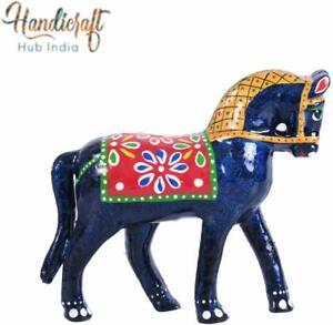 Handmade & Hand painted Beautiful Papermache Horse Showpiece Gift Item 12*13cm