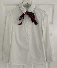 Hobbs White Long Sleeve Shirt with Navy & Red Neck Tie Size UK 6