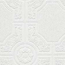 """Ornate White Vinyl Paintable Wallpaper 48929 Prepasted 33' x 21"""" = 57.75 sq ft"""