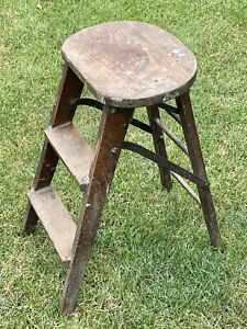 Antique Crackerjack Wooden Folding 2-Step Decorative Ladder Stool Plant Stand