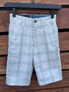 New Volcom Plaid Shorts Beige/Green Size 8 Slim (22)