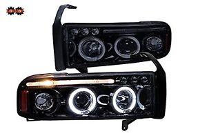 94-01 Dodge Ram 1PC Smoked Tinted Headlights w/Dual Halo LED  Projector