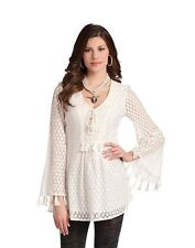 Womens Top L Ivory Tunic Fringe Cream Blouse Women Office Business Work Prep