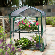 Mini 2-Tier Portable Walk In Greenhouse For Indoor/Outdoor Flower Garden PVC A+