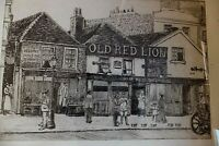 ANTIQUE 1915  ETCHING,'STREET, PUB THE OLD RED LION, ROAD SCENE SIGNED