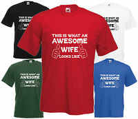 Awesome Wife T Shirt Valentine Gift Xmas Present Cool Birthday Funny Anniversary