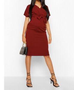 Boohoo Size 10 Maternity Wrap Midi Dress-Wine RRP £18