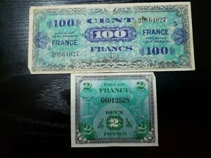 WWII Occupied France 2 & 100 francs Military   Banknotes Series 1944  012621-14