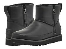 Women's Shoes UGG CLASSIC ZIP MINI Waterproof Leather Ankle Boots 1116104 BLACK