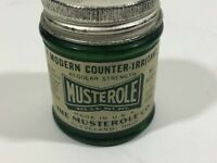 Vintage MUSTEROLE Green Glass Advertising Bottle Jar Paper Label Empty USA P7