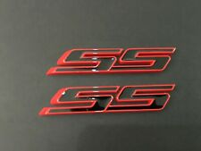 Black red 2Pcs SS Side Fender Trunk Emblem 3D Tilt Badge Decal Replacement for Chevy Impala Cobalt Camaro 2010 2011 2012 2013 2014 2015 2016 2017