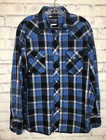 Wrangler Mens Long Sleeve Pearl Snap Blue  Plaid Check Western Shirt Sz L Rodeo