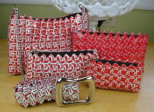 Recycled Candy Wrapper 4 Sizes PURSE SET w/BELT Red White Gift Set