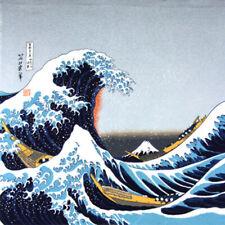 "Japanese Furoshiki Wrapping Cloth Scarf Tapestry 27"" Rayon Chirimen Nami Wave"