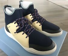 600$ Lanvin Neoprene Blue and Beige High Tops Sneakers size US 10