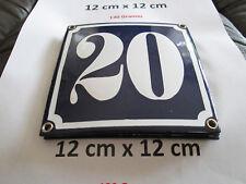 Hausnummer Emaille Nr. 20 weisse Zahl auf blauem Hintergrund 12 cm x 12 cm