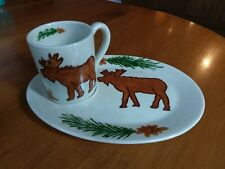Ceramic Mug Plate Set Moose Pine Tree Cone Needle Rustic Mountain Lodge Cup Sign