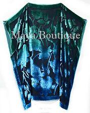 Caftan Dress Kimono Silk Burnout Velvet MAYA Dyed Stained Glass Blue & Greens