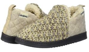 Dearfoams Latte DF Adaft No Sweat Textured Knit Microwool Bootie Slipper S (5-6)