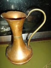 original Vintage retro Copper Water Jug Vase With Large Brass Handle