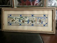 PAIR Vintage Multi Scene Persian Khatam Kari Inlay Framed Camel Bone Paintings