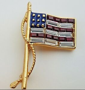 "KJL Patriotic USA Flag Red Clear Baguette Pave Crystals Stripes Pin Brooch 1.5"""