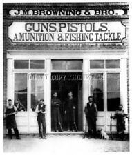 ANTIQUE 8X10 REPRO PHOTO JOHN M BROWNING GUNSHOP SHOTGUN  FISHING TACKLE RIFLES