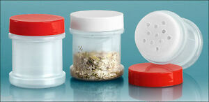 1 oz  Plastic Spice Jars w/Red, White, Black  or Clear Caps & Sifters U-Pick