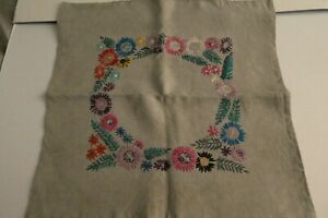 Vintage Ecru/Natural Well Worked Hand Embroidered Linen Cushion Cover