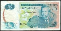 1976 Seychelles 10 Rupees Banknote * A/1 178200 * aVF * P-19a *
