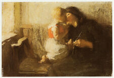 Mother and Child, Dame Laura Knight vintage print 1980s ready mounted SUPERB