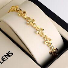 """Women Bracelet 7.5""""Flower Chain 18K Yellow Gold Filled 10mm Link GF Jewelry"""