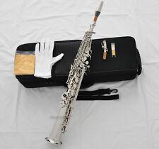 TOP Quality Silver Nickel Straight Bb Soprano Saxophone Sax High F# G Key 2 Neck