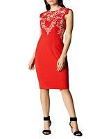 KAREN MILLEN RED Cap Sleeve Embroidered Shift Dress RRP £215