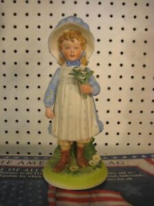 """Holly Hobbie with Flowers 8"""" Porcelain Figurine 1973 by World Wide Arts"""