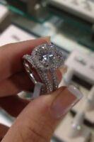 2.35 Ct Brilliant Cut Halo Moissanite Engagement Wedding Ring Set 14K White Gold