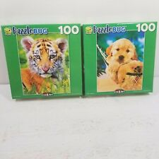"LOT of 2 Puzzlebug Jigsaw - 100 Piece Tiger Cub & Retriever 8.75"" x 11.25"" - NEW"