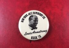 RARE PIN BUTTON BADGE NEW-YORK JAZZ REPERTORY CO. LOUIS ARMSTRONG USSR'75. NGS.