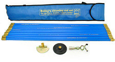 Industrial Bailey 30ft Drain Rod Unblocker Plunger Set Kit Cleaning Rods & Bag