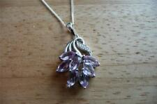 ROSE DE FRANCE LILAC AMETHYST  925 SILVER LEAF DESIGN PENDANT NECKLACE 18INS