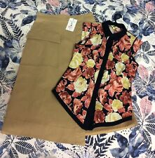 Cue Tan A-line Skirt And Floral Sleeveless Top Sz 10 Excellent Condition