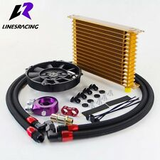 LR 15 Row Engine Oil Cooler w/ Oil lines Adapter Kit & 7 Inch Electric Fan