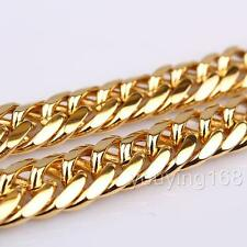 Thick 24K Yellow Gold Filled Huge Double Curb Chain Mens Heavy Necklace 100g